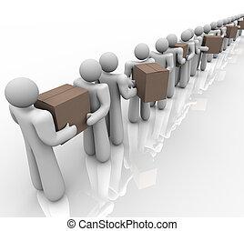 underhållstjänst, folk, leverans, rutor, bärande, packen