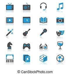 underholdning, lejlighed, hos, reflektion, iconerne