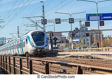 underjordisk, tog, ind, stockholm