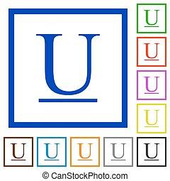 Underlined font type framed flat icons
