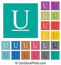 Underlined font type square flat multi colored icons