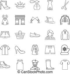Underlinen icons set, outline style - Underlinen icons set....