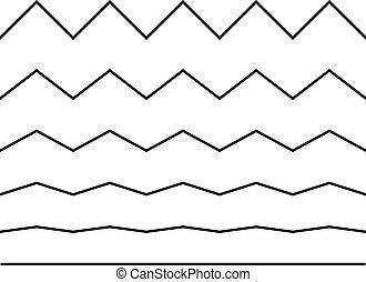 underlines, ligne, set., vague, edge., vecteur, blanc, ...