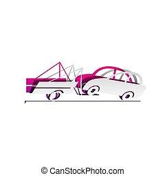 underlyi, segno., staccabile, rimorchio, carta, camion, vector., uggia