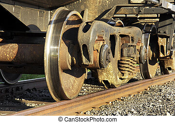 Underneath a freight train - On the right track: Close-up of...