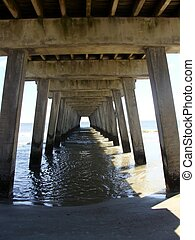 Underneath an Ocean Pier - Underneath the Pier at Tybee...