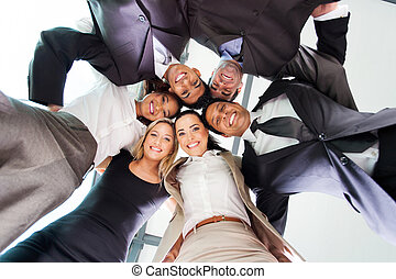 underneath view of business people