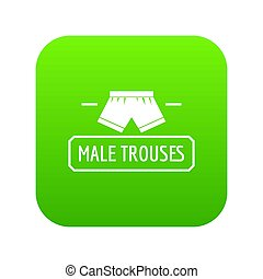 Underpant icon green isolated on white background
