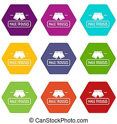 Underpant icons set 9 - Underpant icons 9 set coloful...
