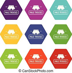 Underpant icons set 9 vector - Underpant icons 9 set coloful...