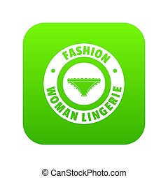 Underpant woman icon green isolated on white background