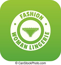 Underpant woman icon green vector isolated on white...