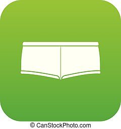 Underpants icon green vector isolated on white background