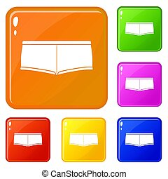 Underpants icons set color
