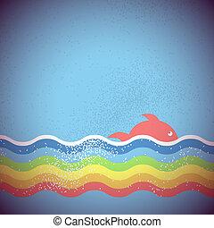 undersåten, vektor, design, bakgrund, hav