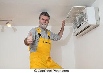 undersöka, betingelse, eller, installera, luft