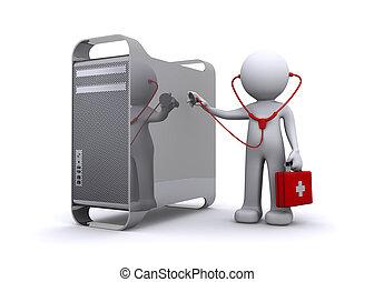 undersöka, läkare, pc/mac