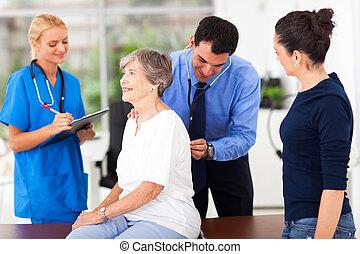 undersöka, medicinsk, tålmodig, senior, läkare