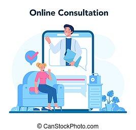 undersöka, platform., service, läkare, mänsklig, neurologen, direkt, eller