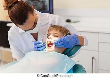undersöka, tandläkare, tålmodig, ung, tänder