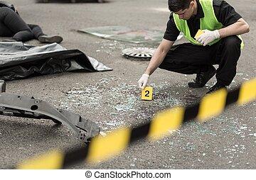 undersökning, olycka, väg, område