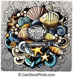 Undersea life cartoon vector doodle illustration. Colorful...