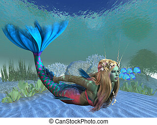 Undersea Mermaid - A beautiful multi-colored mermaid swims...