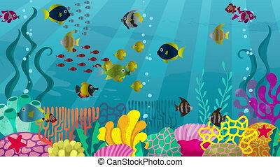 Undersea - Looping animation of underwater world with corals...