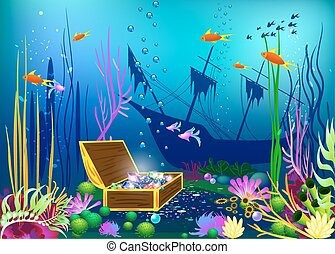 Undersea vector illustration with sunk ship and chest with gems