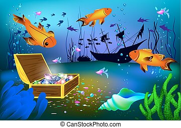 Undersea vector illustration with sunk ship and chest with gems with fish