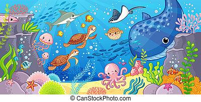 Cute cartoon animals underwater. Vector illustration on a sea theme.