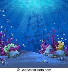 Undersea world in blue theme