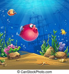 Undersea world with funny red fish vector image