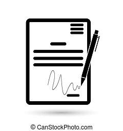 underskrift, symbol, kontrakt, aftalen, pagten, overenskomst, icon., kongres