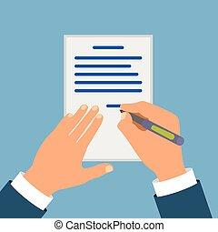 underskrive, cartooned, farvet, kontrakt, hånd