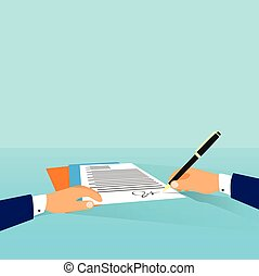 underskrive, kontor, firma, aftalen, oppe, kontrakt, skriv, arbejdspladsen, skrivebord, forretningsmand, dokument, mand
