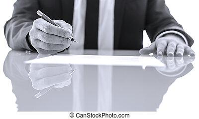 underskrive, og, læsning, lovlig, papirer