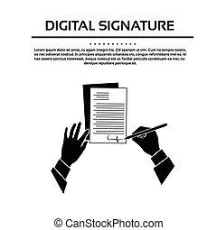 underskrive, silhuet, branche rækker, oppe, kontrakt, sort, underskrift, dokument, mand