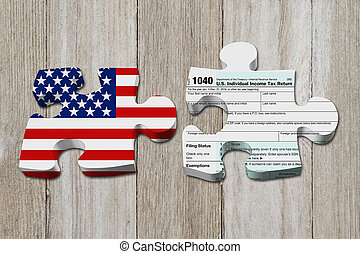 Understanding how to do your taxes, Two puzzle pieces with...