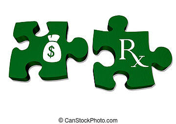 Understanding the medical costs - Green puzzle pieces with...