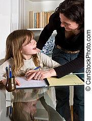 Understanding - Young teenager girl getting a homework...