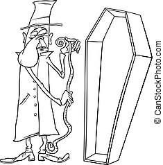 undertaker with coffin cartoon illustration - Black and...