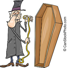 Cartoon Illustration of Undertaker with Centimeter Measure and Coffin