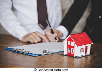 underteckna, affär, stämm, hus, närbild, avtal, bord