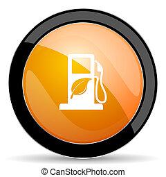 underteckna, apelsin, ikon, drivmedel, bio, biofuel