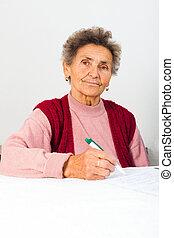 underteckna, dam, äldre, avtal