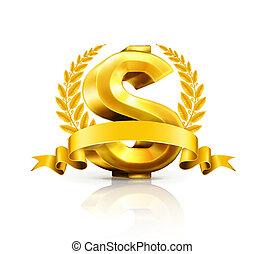 underteckna, dollar, emblem