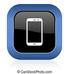 underteckna, glatt, fyrkant, smartphone, telefonera ikon