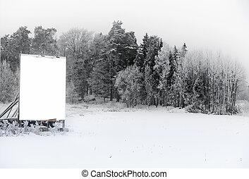 underteckna, in, vinter