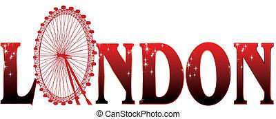 underteckna, london, hjul, ferris